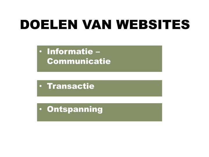 DOELEN VAN WEBSITES