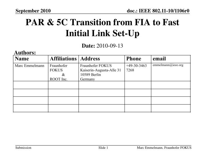 Par 5c transition from fia to fast initial link set up