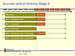 accrual end of activity stage ii