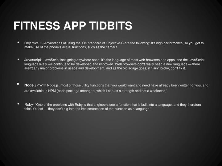 FITNESS APP TIDBITS