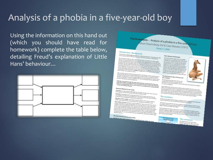Analysis of a phobia in a five-year-old boy