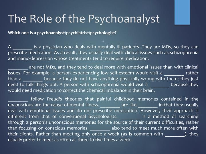 The Role of the Psychoanalyst