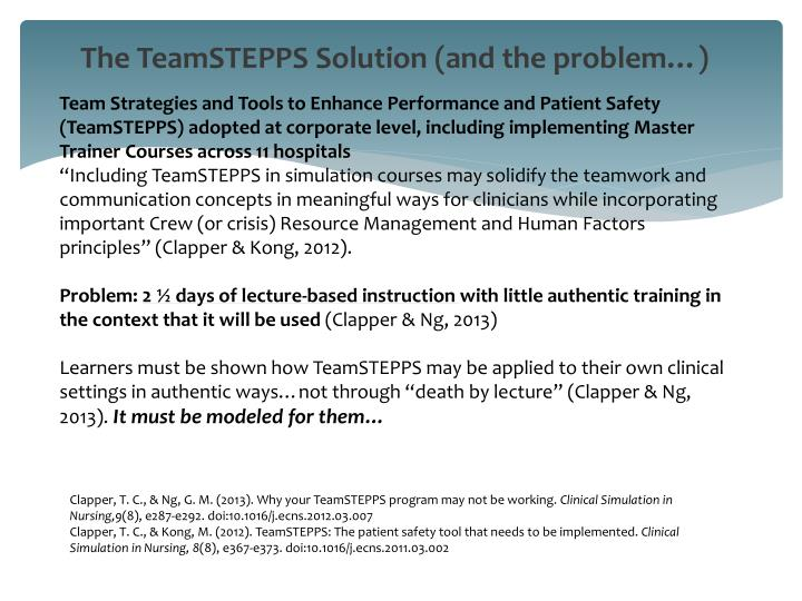 The TeamSTEPPS Solution (and the problem…)
