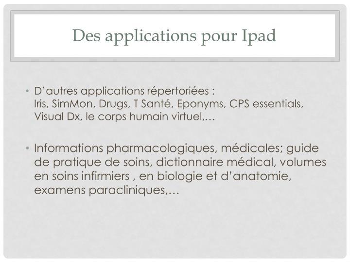 Des applications pour