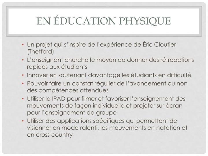 En éducation physique