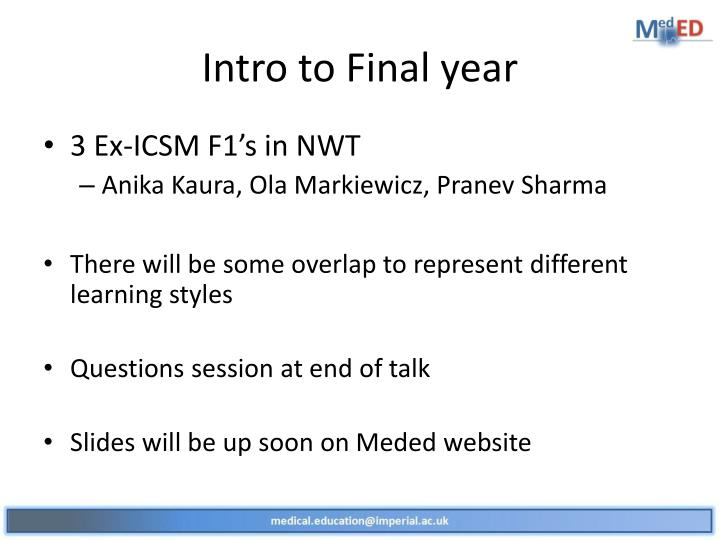 Intro to Final year
