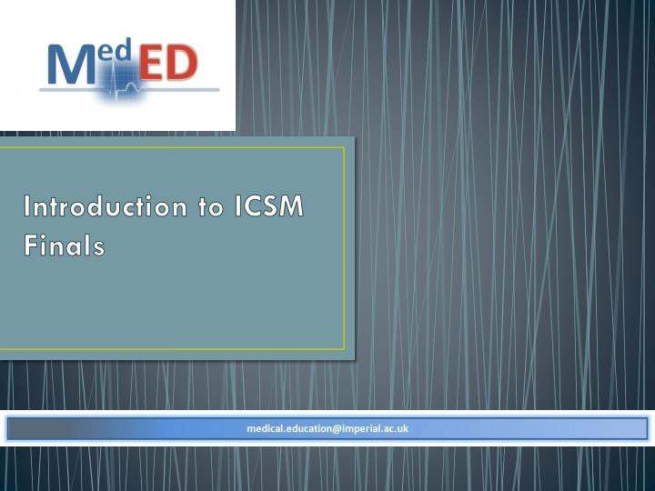 Introduction to ICSM Finals