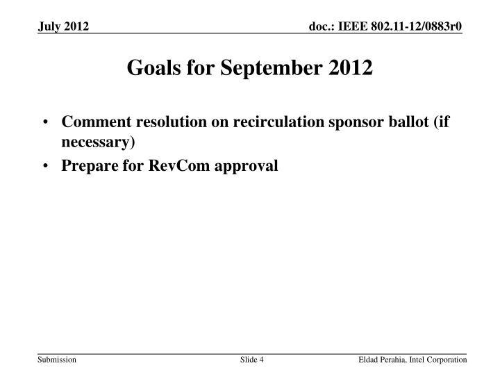 Goals for September 2012