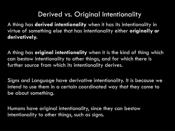 Derived vs. Original Intentionality