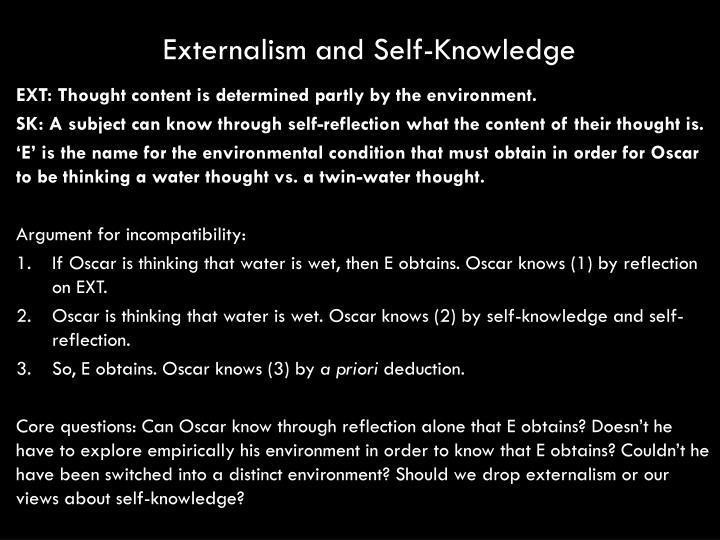 Externalism and Self-Knowledge