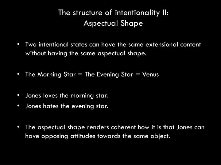 The structure of intentionality II: