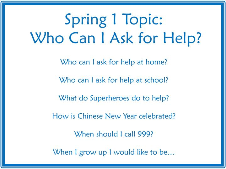 Spring 1 Topic: