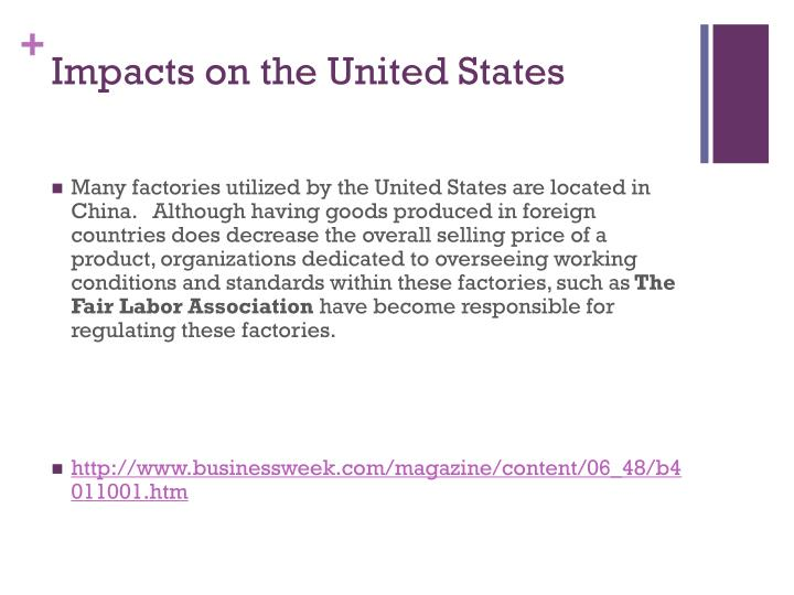 Impacts on the United States