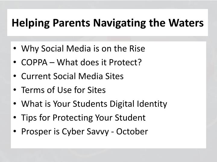 Helping parents navigating the waters