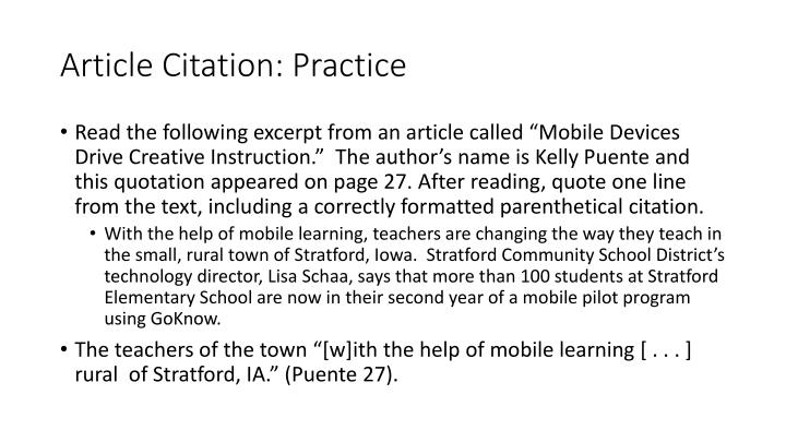 Article Citation: Practice