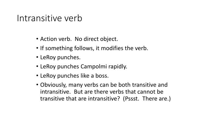 Intransitive verb