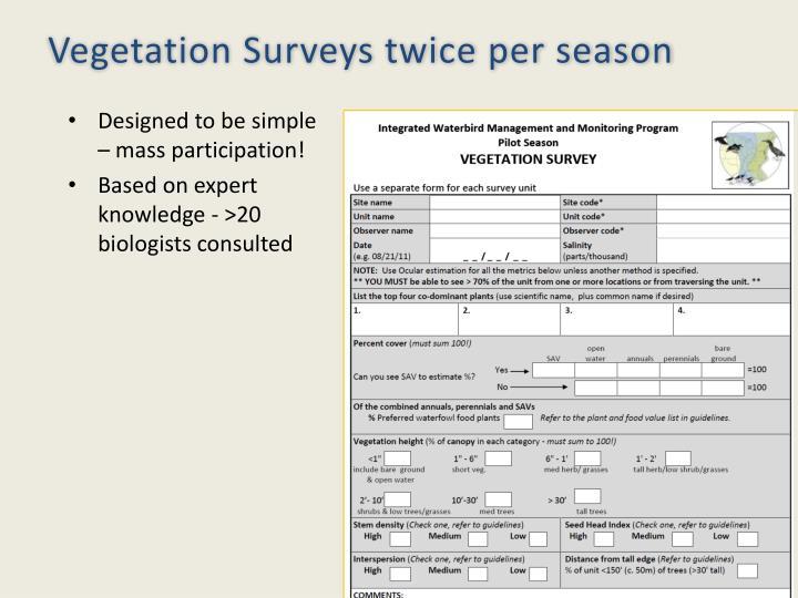 Vegetation Surveys twice per season