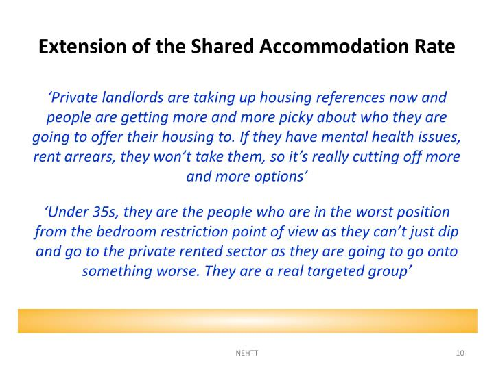Extension of the Shared Accommodation Rate