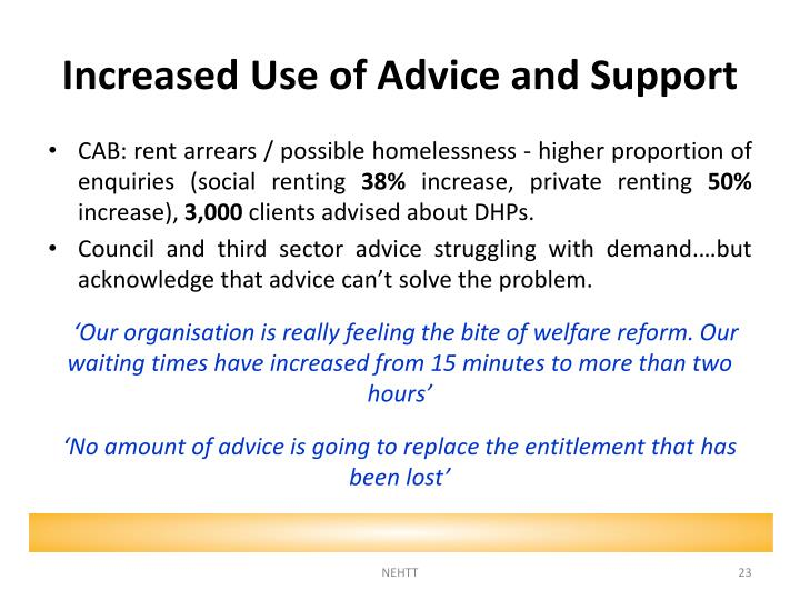 Increased Use of Advice and Support