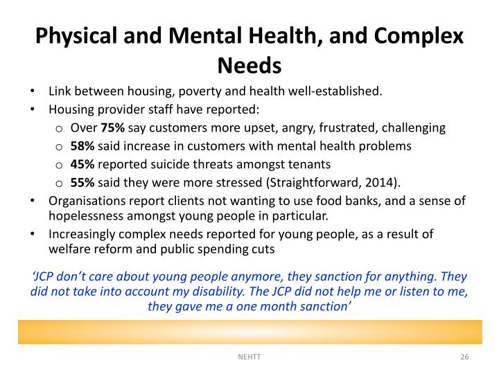 Physical and Mental Health, and Complex Needs