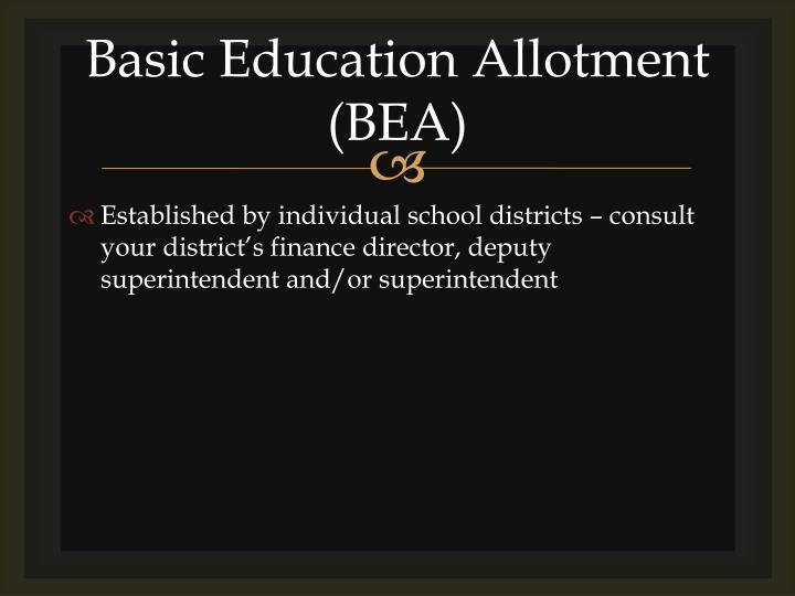 Basic Education Allotment (BEA)