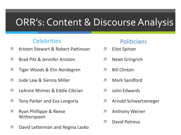 ORR's: Content & Discourse Analysis