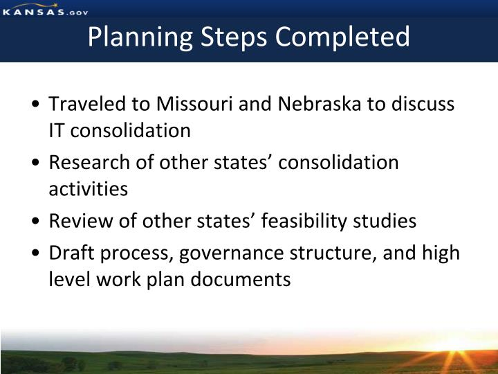 Planning Steps Completed