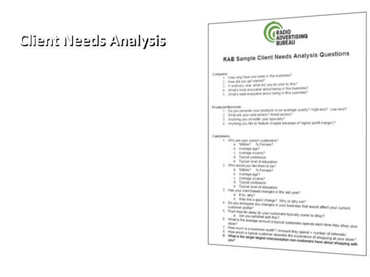 Client needs analysis