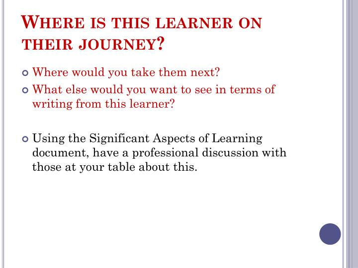 Where is this learner on their journey?