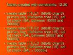 tables created with constraints 12 20