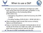 when to use a d f