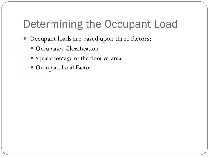 Determining the occupant load