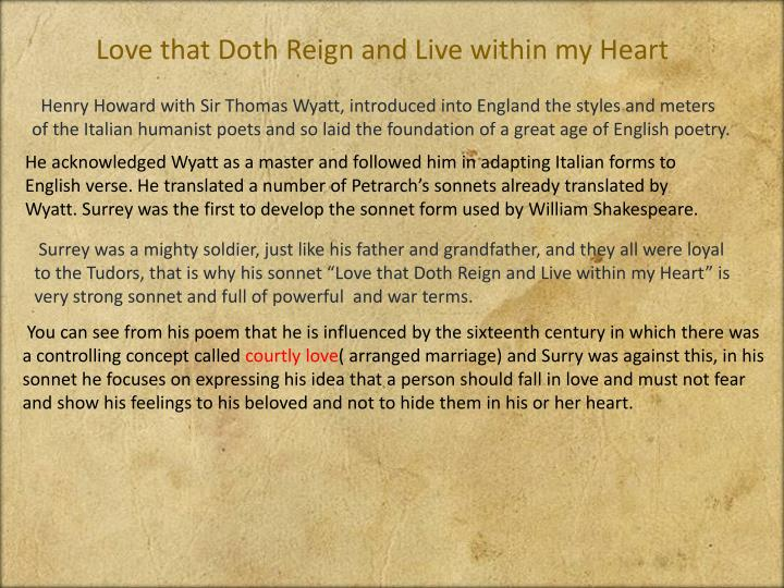 love that doth reign and live within my thoughts