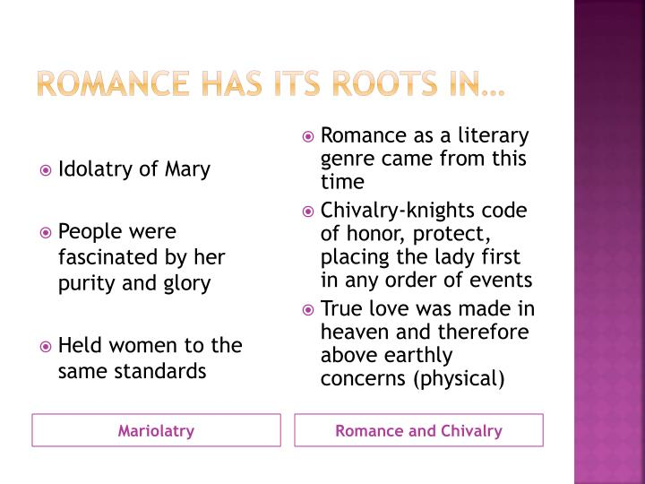 Romance has its roots in…