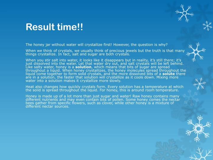 Result time!!