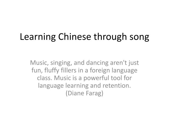 learning chinese through song n.