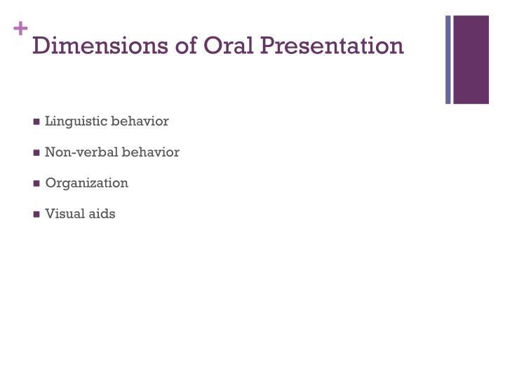Dimensions of Oral Presentation