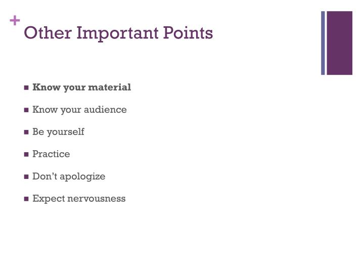 Other Important Points