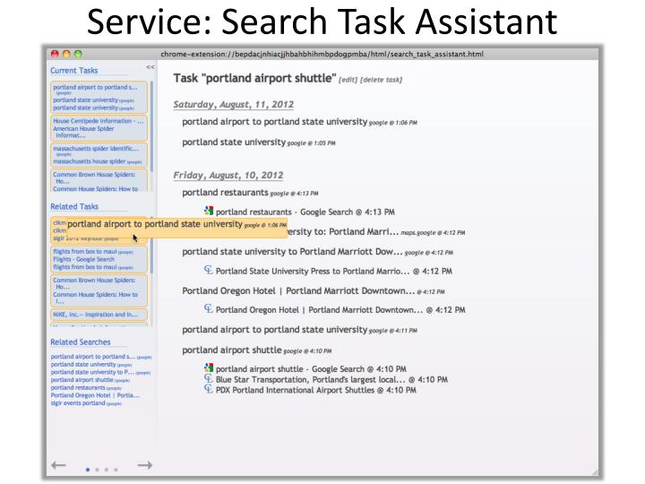 Service: Search Task Assistant