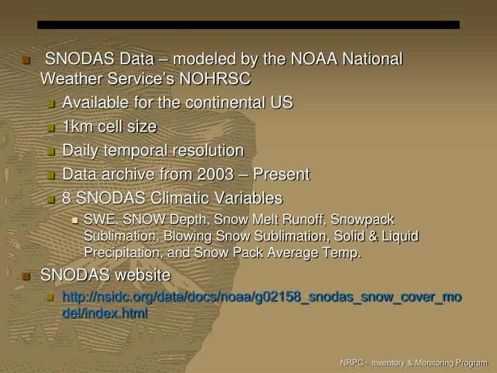 SNODAS Data – modeled by the NOAA National Weather Service's NOHRSC