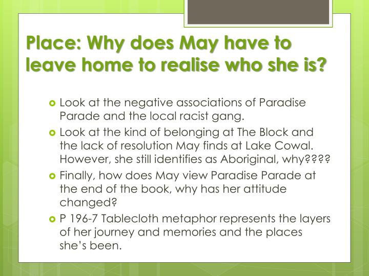 Place: Why does May have to leave home to realise who she is?