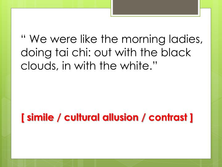 """"""" We were like the morning ladies, doing tai chi: out with the black clouds, in with the white."""""""