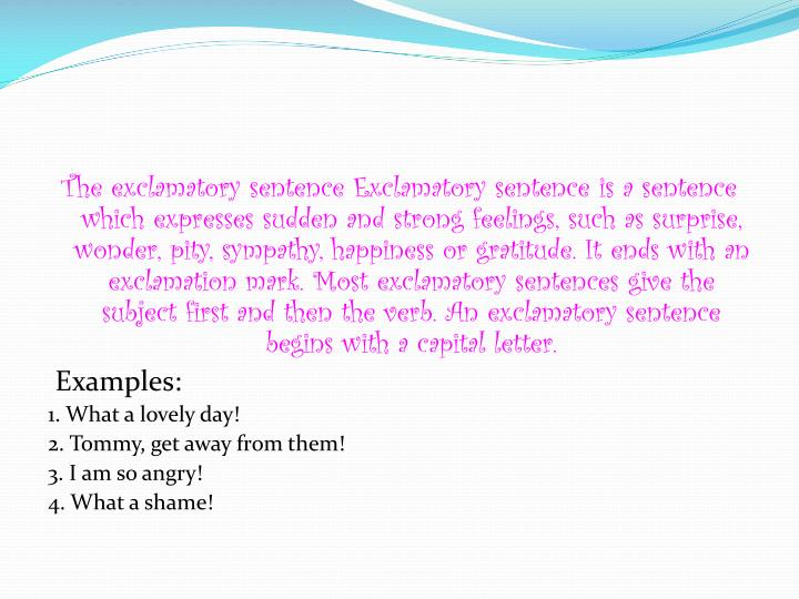 Ppt Exclamatory Sentences Powerpoint Presentation Id1850956