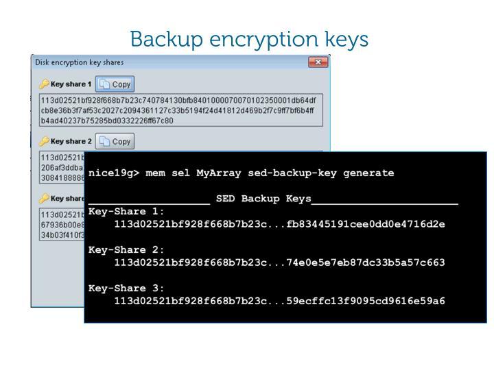 Backup encryption keys