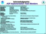 acknowledgments aqf implementation team members