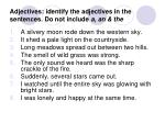 adjectives identify the adjectives in the sentences do not include a an the
