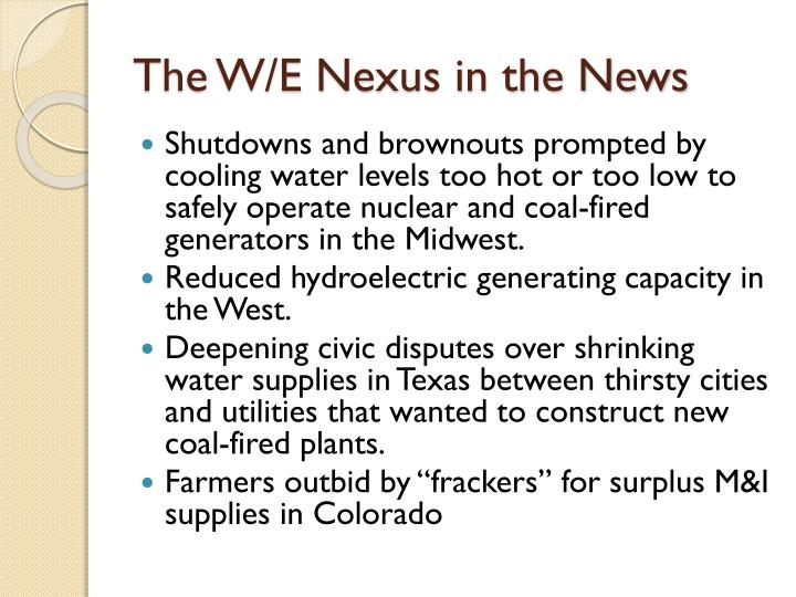 The w e nexus in the news