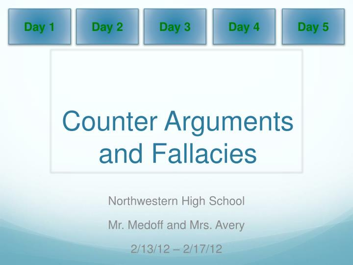 counter arguments and fallacies n.