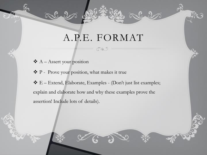 A.P.E. Format