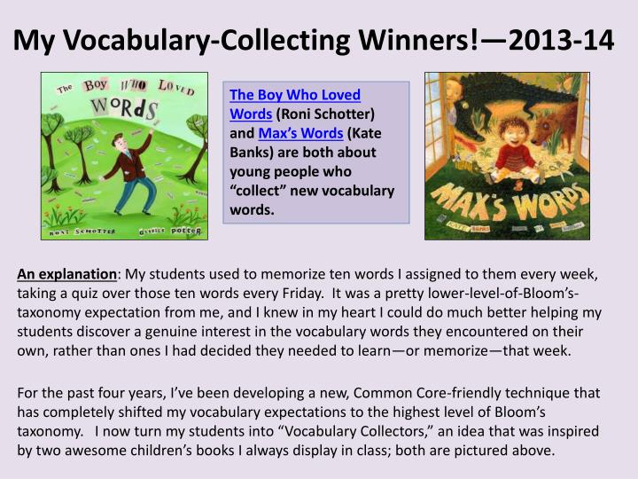 my vocabulary collecting winners 2013 14 n.